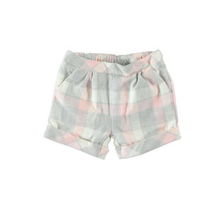Shorts in twill a quadri finitura calda minibanda ROSA-2711