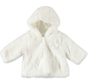 Morbidissimo e vellutato pellicciotto ecologico con cappuccio minibanda PANNA-0112