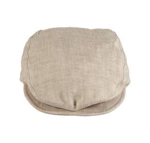 Elegante cappellino neonato modello coppola in tela 100% lino minibanda BEIGE-0436