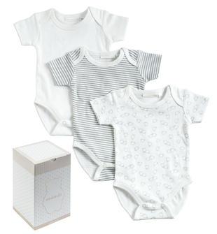 Body intimo neonati confezione regalo con tre pezzi minibanda BIANCO-GRIGIO-8011