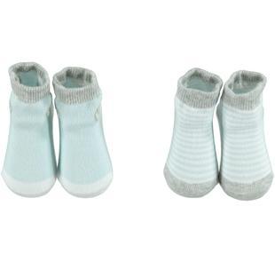 Calzine per neonato in confezione trasparente due pezzi minibanda AZZURRO-3813