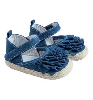 Sandalo in denim con balze arricciate per neonata minibanda STONE BLEACH-7350