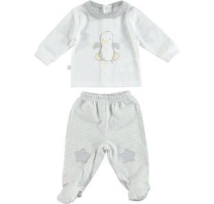 Tutina spezzata per neonati con paperetta e toppe a stelle minibanda GRIGIO MELANGE-8991
