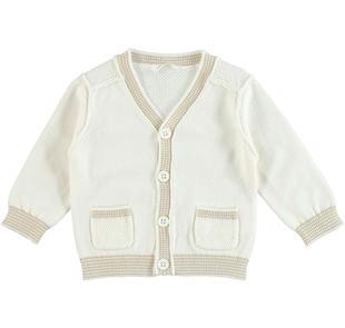 Cardigan in tricot 100% cotone con scollo a v minibanda PANNA-0112