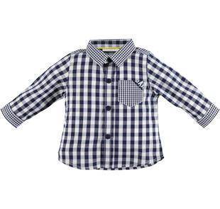 Camicia a quadri 100% cotone per neonato minibanda NAVY-3854