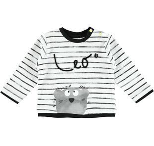 Dolcissima t-shirt 100% cotone a manica lunga con leoncino minibanda NERO-0658
