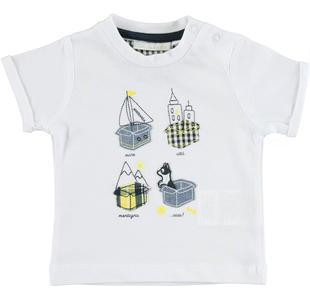 Simpaticissima t-shirt 100% cotone minibanda BIANCO-0113