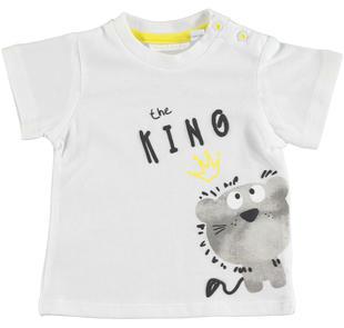 Comoda t-shirt neonato 100% cotone con collo girocollo minibanda BIANCO-0113
