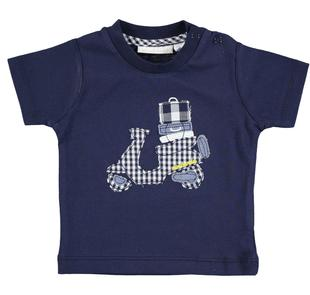 Pratica e comoda t-shirt neonato 100% cotone minibanda NAVY-3854