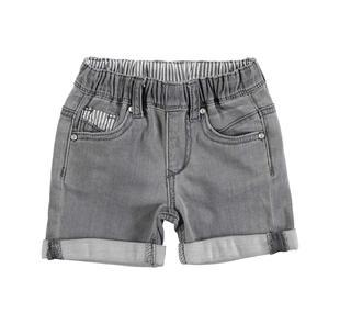 Pantalone corto in felpa denim stretch minibanda NERO-7991