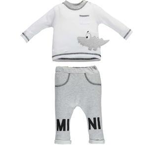 Completo neonato 100% cotone con simpatico coccodrillo ricamato minibanda  BIANCO-0113 6e83521ab71