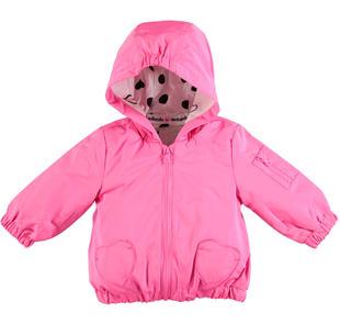 Giubbotto modello giacca a vento per neonata minibanda ROSA FLUO-2499