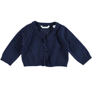 Cardigan neonata in tricot 100% cotone minibanda NAVY-3854