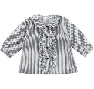 Graziosa camicia neonata modello con jabot minibanda NERO-0658