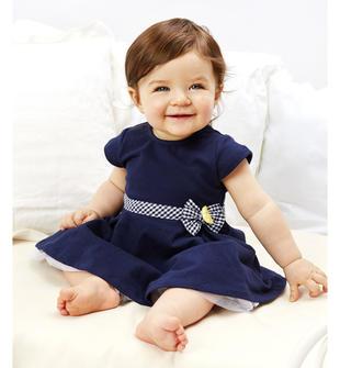 Abitino neonata in felpa stretch con fascia in vita minibanda NAVY-3854