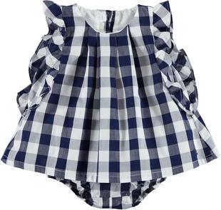 Abitino scamiciato a quadri 100% cotone con culotte per neonata minibanda BIANCO-BLU-8020