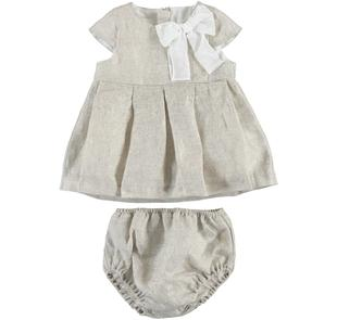 Abitino neonata in tela di lino con coulotte copri pannolino minibanda BEIGE-0436
