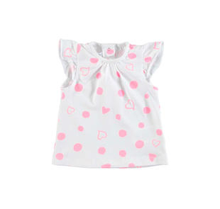 T-shirt cuori e pois in cotone per neonata minibanda BIANCO-FUXIA-8043