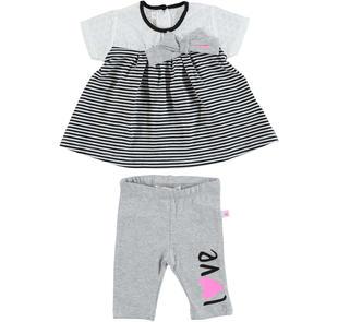 Completo maxi maglia rigata e leggings per neonata minibanda GRIGIO MELANGE-8992