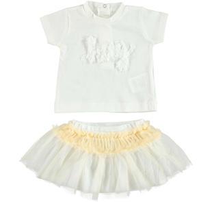 Completo 100% cotone t-shirt e gonna in tulle per neonata minibanda PANNA-0112