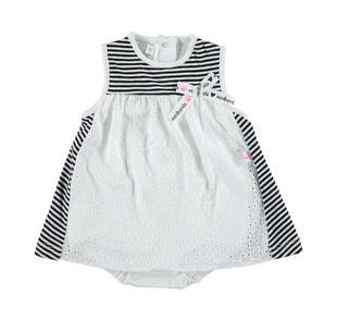 Pagliaccetto finto vestitino con fiocco minibanda BIANCO-0113