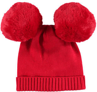 Caldo cappello modello cuffia con pon pom minibanda ROSSO-2253