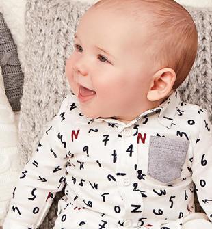 Camicia in twill di cotone 100% fantasia lettering minibanda PANNA-BLU-ROSSO-6ED6