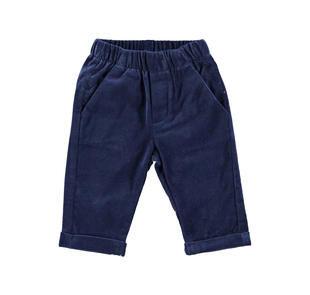 Pantalone in morbido velluto liscio con tasche minibanda NAVY-3854