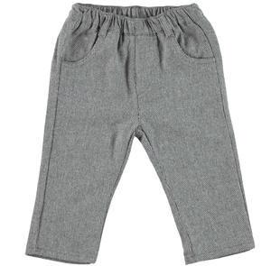 Elegante pantalone in morbido tessuto laniero spigato minibanda GRIGIO MELANGE-8993