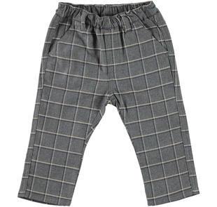 Pantalone in raffinata flanella a quadri minibanda GRIGIO MELANGE-8993