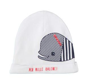 Cappello neonato in cotone elasticizzato con spiritosa grafica di balena minibanda BIANCO-0113