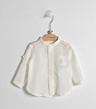 Camicia neonato a manica lunga in tessuto misto lino e cotone minibanda PANNA-0112