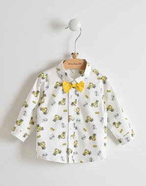 Camicia a manica lunga per neonato con papillon giallo minibanda BIANCO-MULTICOLOR-6FS7