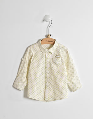 Camicia per neonato a manica lunga in misto cotone minibanda BIANCO-BEIGE-6GC1