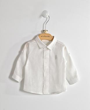 Camicia neonato in misto cotone e lino minibanda BIANCO-0113