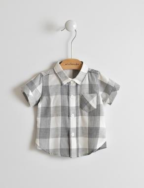 Trendy e stilosa camicia neonato in tessuto misto viscosa minibanda GRIGIO MELANGE-8992