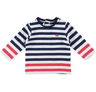 Comoda t-shirt girocollo a manica lunga per neonato in cotone minibanda NAVY-3854