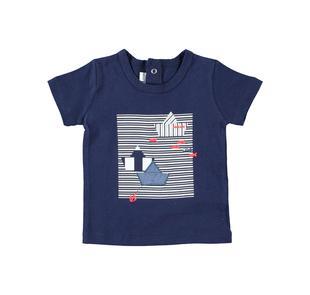 T-shirt estiva neonato a manica corta 100% cotone con barchette minibanda NAVY-3854