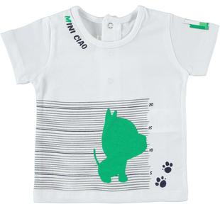 T-shirt neonato a manica corta 100% cotone minibanda BIANCO-0113