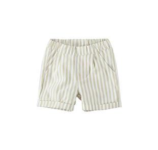 Elegante pantalone neonato con righine e vita tutta elastica minibanda BEIGE-0152