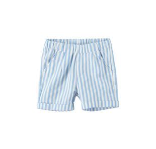 Elegante pantalone neonato con righine e vita tutta elastica minibanda AZZURRO-3635