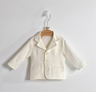 Elegante e raffinata giacca neonato con chiusura con bottoni minibanda PANNA-0112