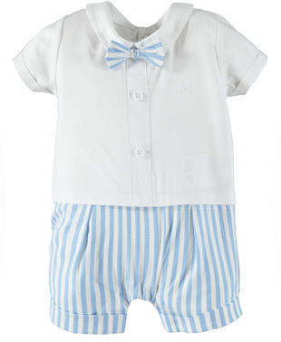 Elegante e simpatico pagliaccetto neonato 100% cotone minibanda BIANCO-0113