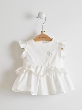 Estiva e comoda camicia neonata 100% cotone con farfallina di strass minibanda BIANCO-0113