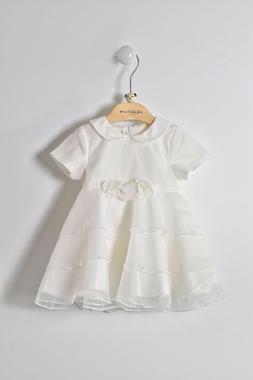 Elegante e raffinato vestitino battesimo neonata in organza minibanda PANNA-0112