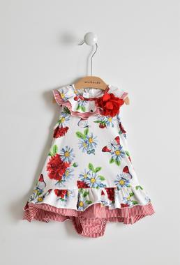 Floreale, estivissimo e comodo vestitino neonata smanicato in cotone minibanda ROSSO-2256