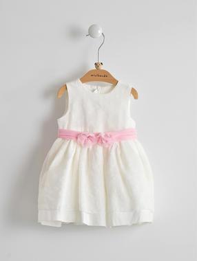 Elegante e raffinato vestitino color crema con fiocco per neonata minibanda PANNA-0112