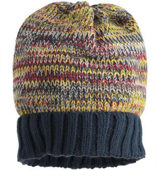 Cappello modello cuffia fantasia mélange ido NAVY-3885