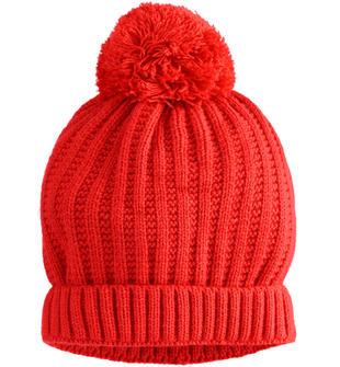 Cappello modello cuffia in tricot con pompon ido ROSSO-2253