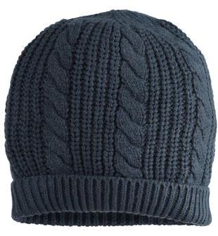 Morbido cappello modello cuffia a treccia ido NAVY-3885